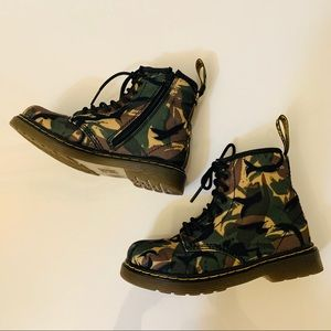 Dr. Martens Small British Camo Canvas Kid's Boots